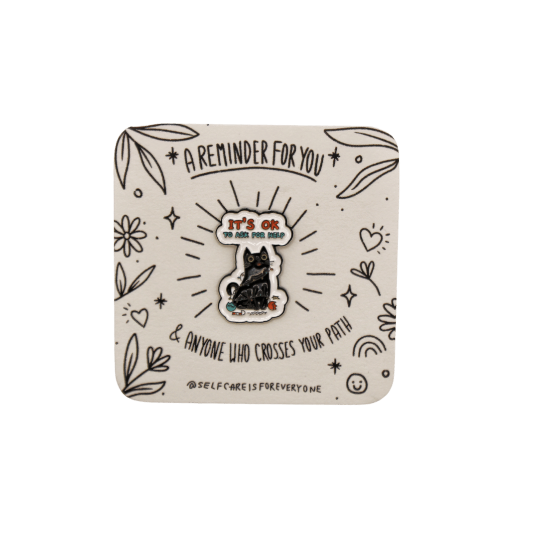 It's OK To Ask For Help (Black Cat) -- Soft Enamel Pin