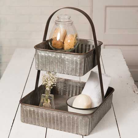 Two Tiered Corrugated Metal Farmhouse Tray
