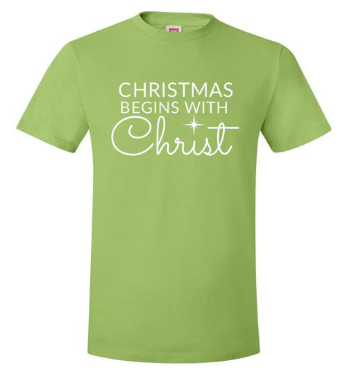 Christmas Begins with Christ T-Shirt (5 colors)