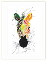Zebra Print Icon by Paddy Muchwa with white frame