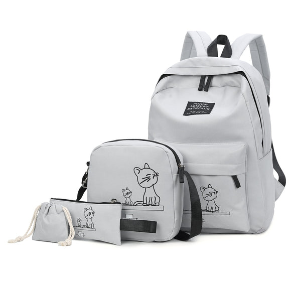 18d468a032 4PCs Set School Backpack Book Bags for Students Backpack Women Casual  Rucksack Daypack Nylon Laptop