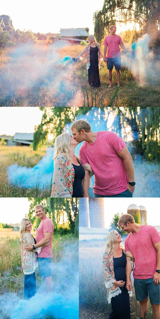 Dave & Michelle Gender Reveal Smoke Bombs Celebration