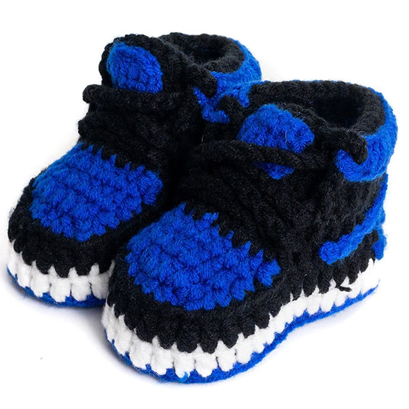 Royal Blue Retro Baby Booties