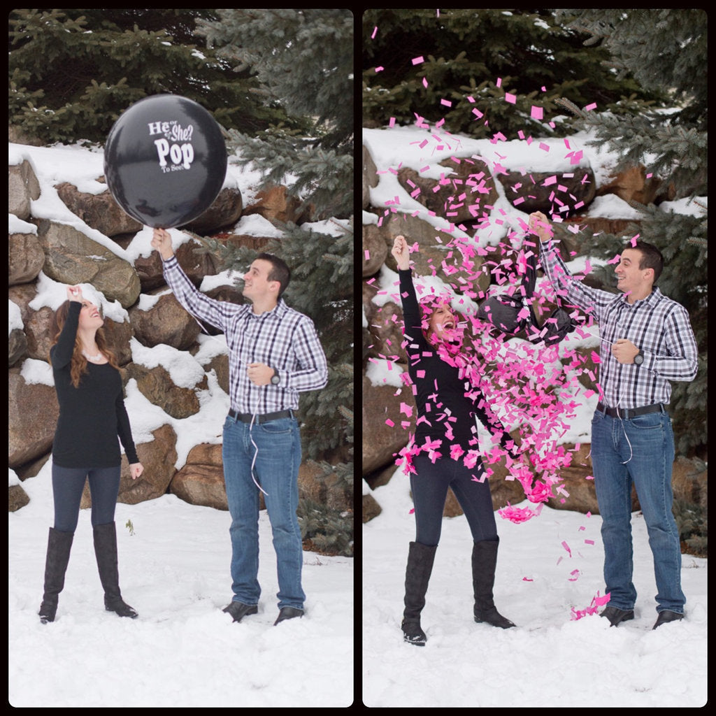 Balloon Pop Gender Reveal Before and After