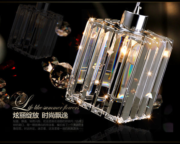 QUKAU crystal restaurant chandelier bar lamp corridor lighting 3 heads pendant light ceiling lamp