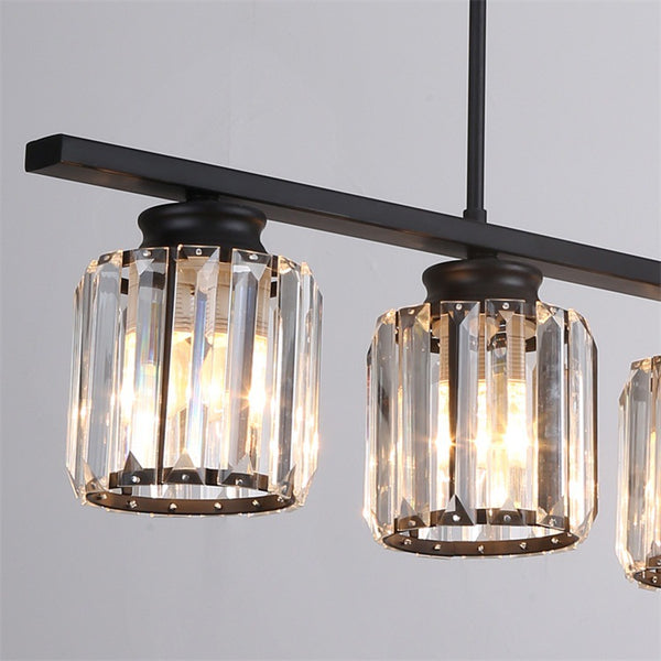 QUKAU iron crystal chandelier Nordic E27 bulb pendant lighting pendant lamp ceiling lamp 3 heads simple restaurant lighting dining room lighting