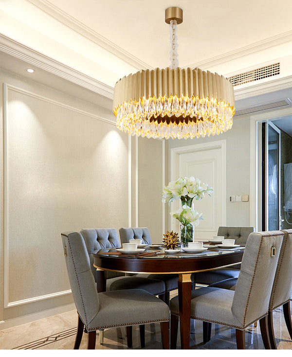 QUKAU luxury crystal chandelier lamp atmosphere luxury villa restaurant chandelier