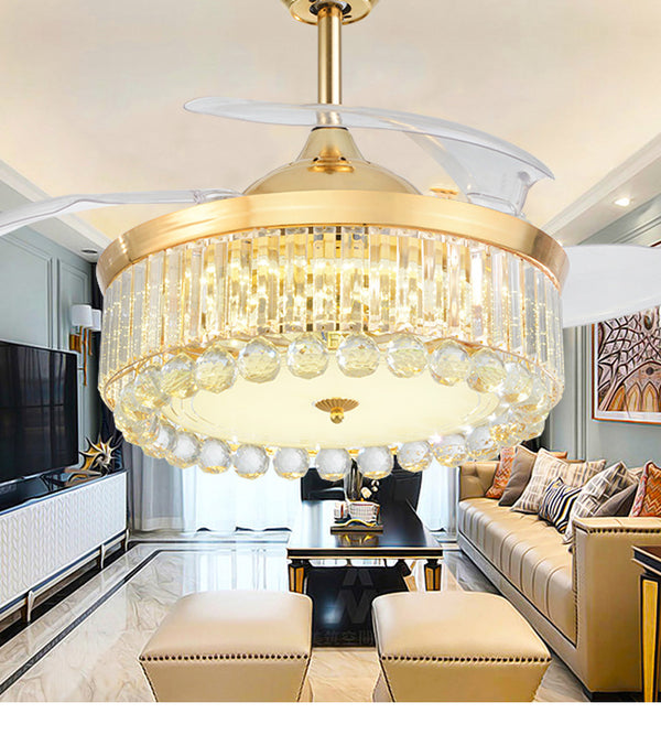 QUKAU Invisible Fan Lamp remote control 42 Inch Atmosphere Crystal Chandelier Ceiling Fan Light