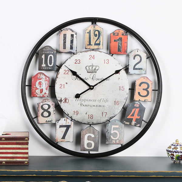 QUKAU  vintage wall clock diameter 50CM  Bedroom home clock metal round clock