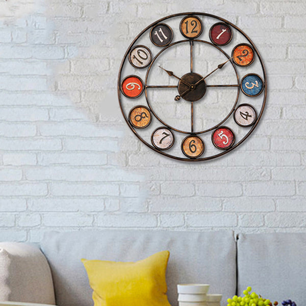 QUKAU Creative wrought iron clock diameter 60CM  Vintage wall clock living room study wall clock