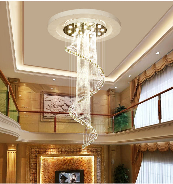 QUKAU Chandelier crystal lamp villa pendant lighting ceiling lamp staircase lamp lighting fixtures