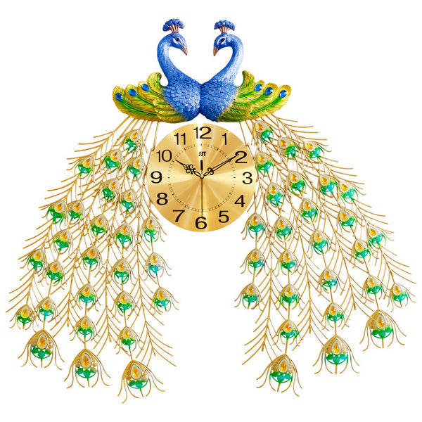 QUKAU luxury peacock wall clock fashion creative clocks decoration mute quartz clock