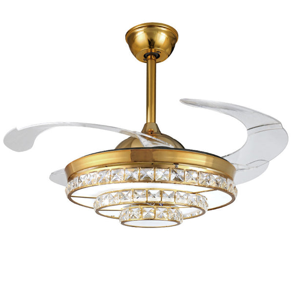 QUKAU invisible fan 42 inch ceiling fan lamp light dimmable remote control crystal chandelier