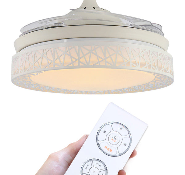 QUKAU Invisible fan light 42 inch remote control fan lamp LED dimmable light Ceiling fan light