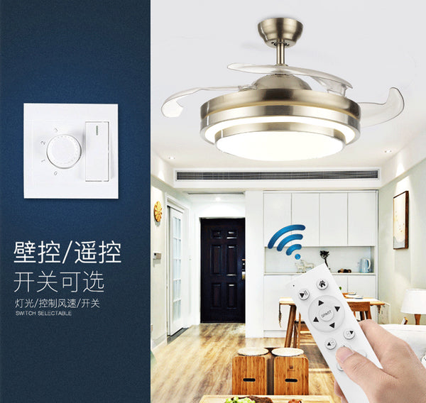 QUKAU Invisible fan lamp pendant light 42 inch remote conrol light dimmable Hotel room ceiling fan light modern restaurant chandelier