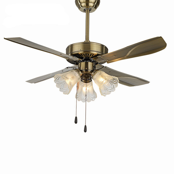 QUKAU European 42inch ceiling fan lamp retro LED ceiling fan with light iron fan lamp
