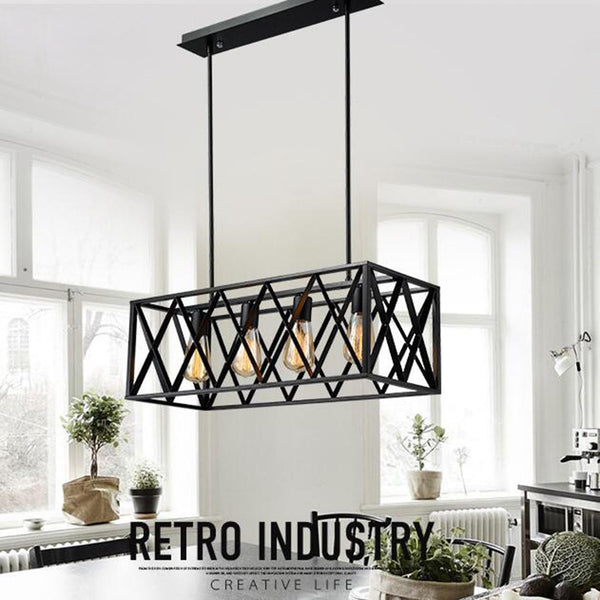 Iron square rack chandelier 4 E27 bulb pendant light glass box pendant light ceiling lamp