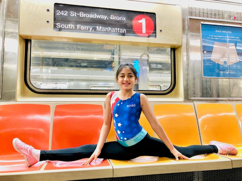riding on the new york subway doing splits in foxy's leotards for gymnastics