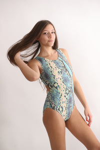 Ultra Soft Snakeskin Leotard with open-back tank the perfect leotard for gymnasts and dancers