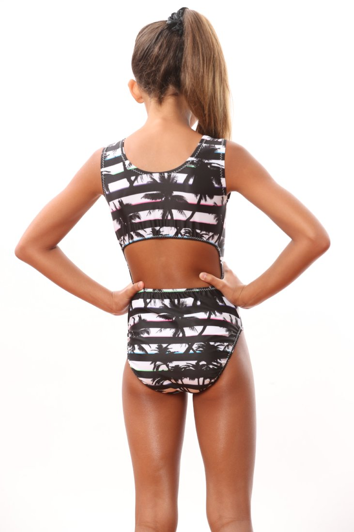 leotards with palms and stripes