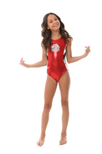 Ohio State college gymnastics leotard by Foxy's Leotards