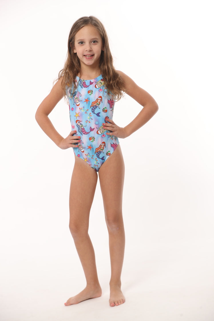 Christmas print leotard with mermaids for girls and gymnasts