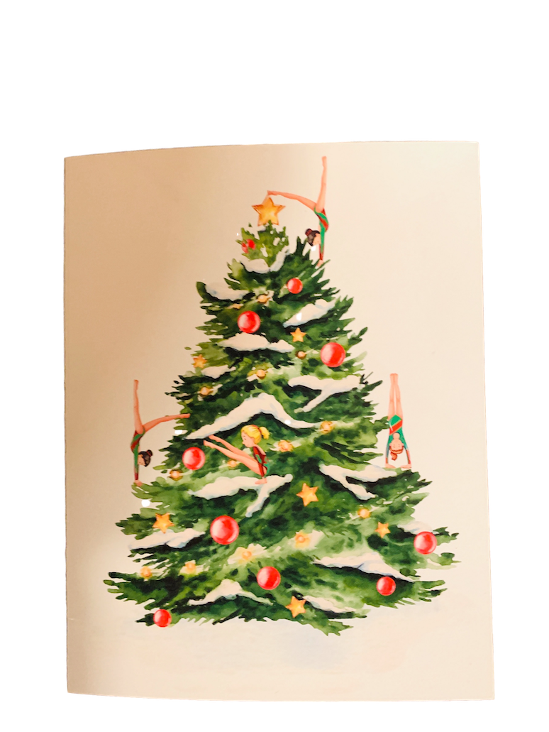 Holiday cards for gymnasts with Christmas tree