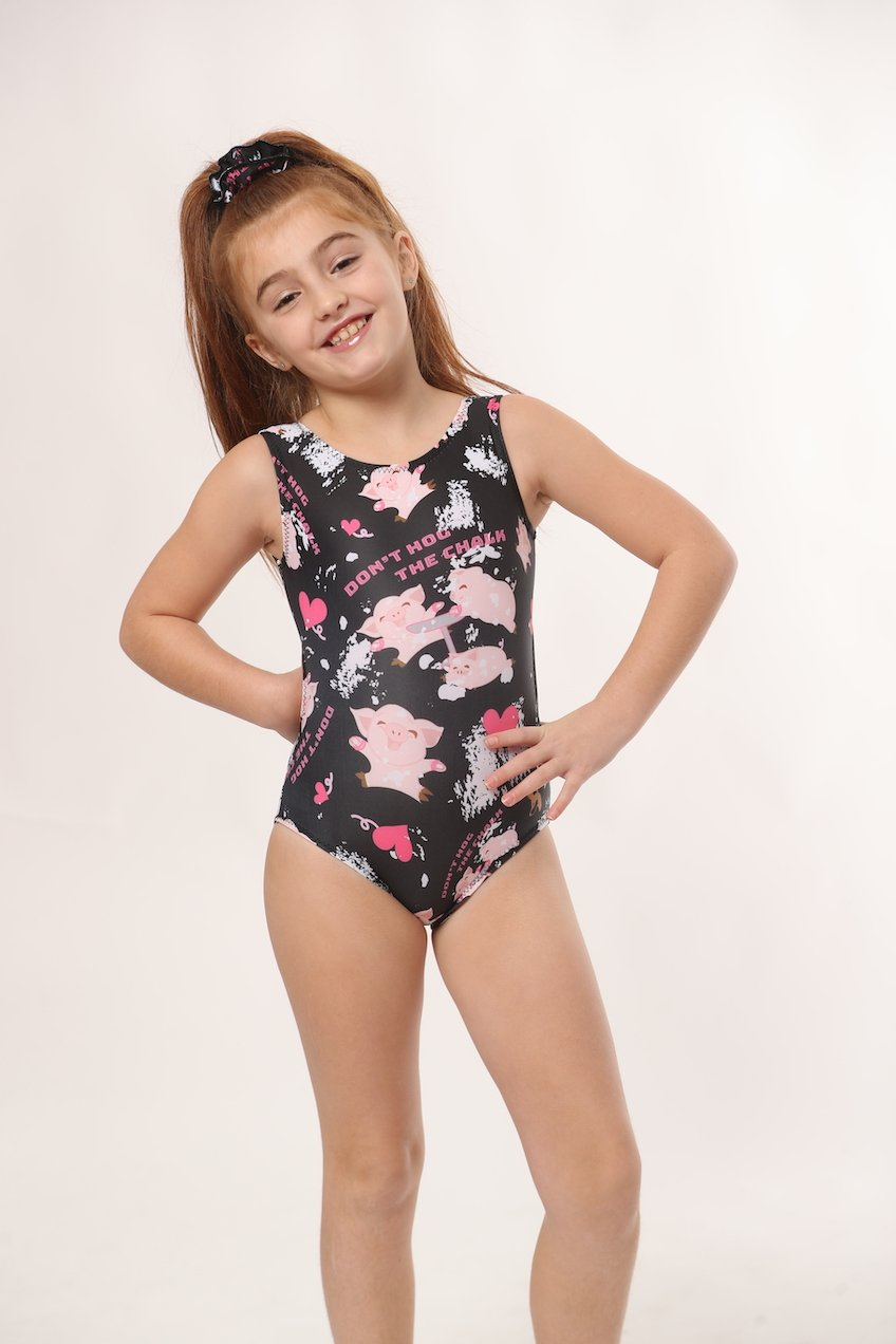 don't hog the chalk black gymnastics leotard for girls