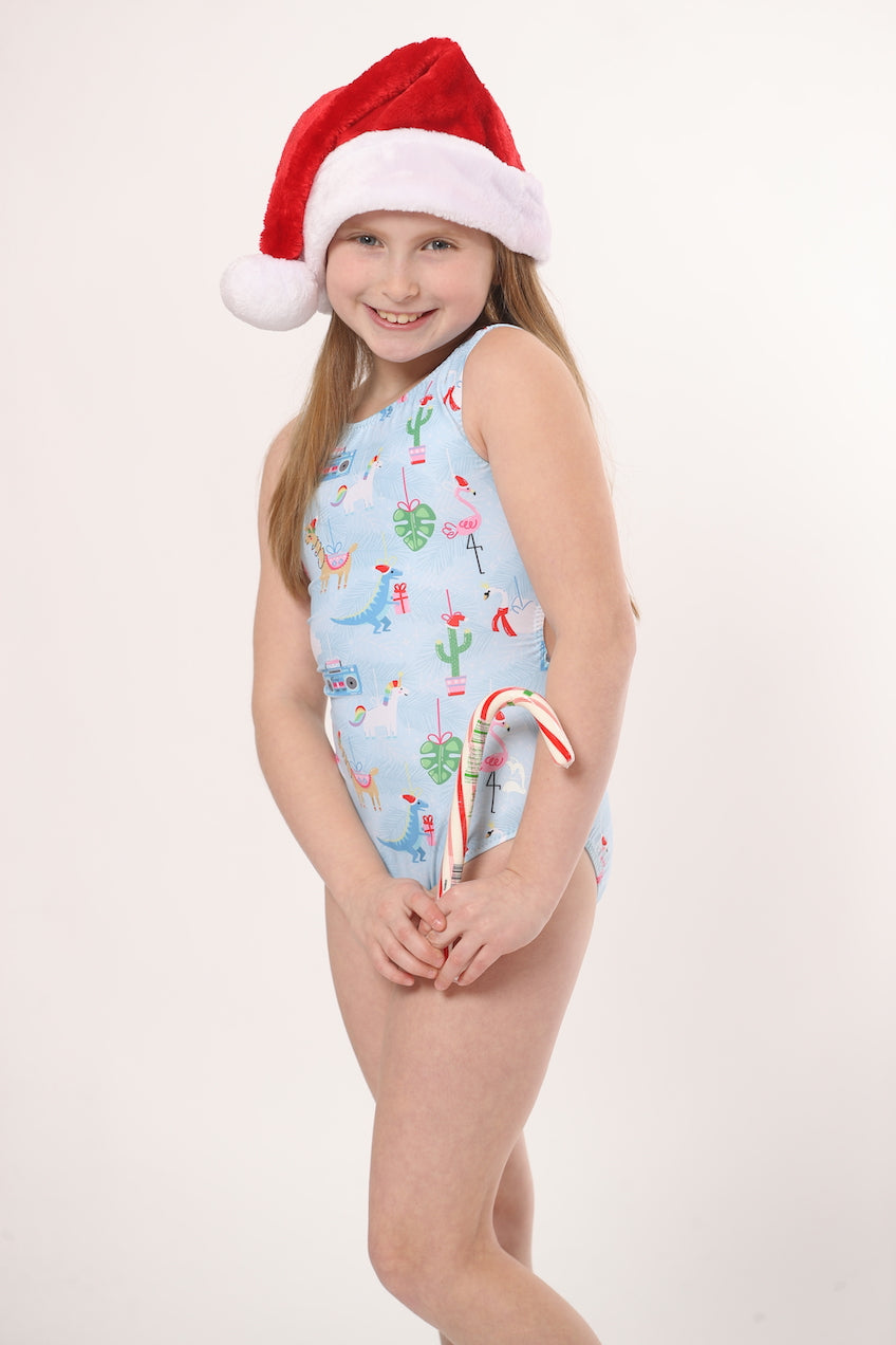 Christmas printed leotards for gymnasts