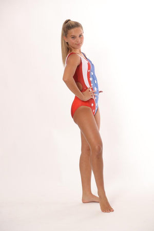 girls gymnastics leotards red white and blue