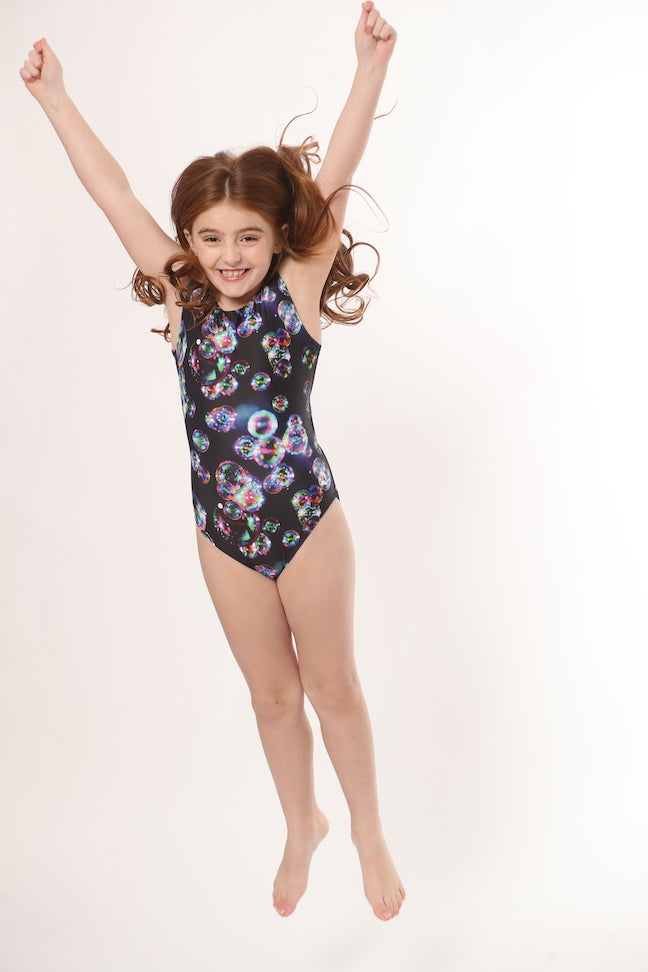 black leotard with bubbles for gymnastics or dance for girls