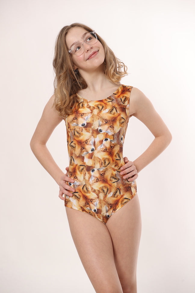 fox themed leotards for girls gymnastics and dance