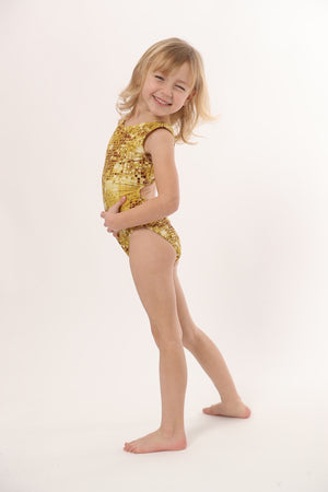 gold gymnastics leotard by Foxy's Leotards