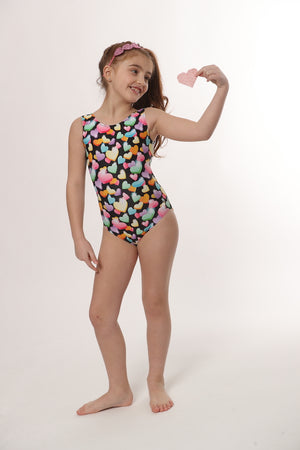 heart filled leotard for girls gymnastics and dance