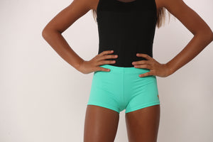 mint green gym shorts for gymnastics dance cheer volleyball and more