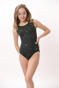 ultra soft black space inspired leotard for gymnastics