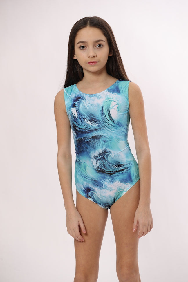 Ocean waves leotard for girls gymnastics and dance by Foxy's Leotards