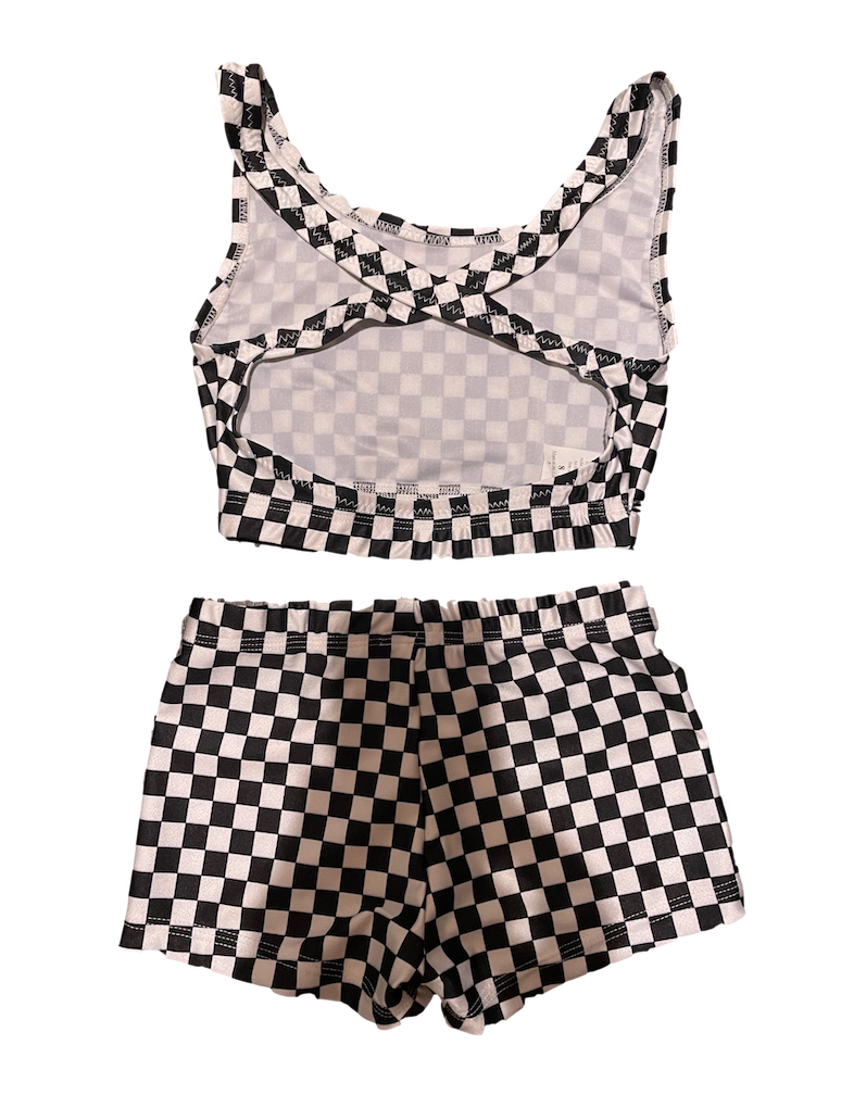 2-piece black and white checkered dance set