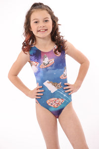 leotard with cats in outer space for girls