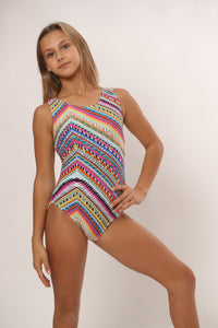 tribal designed gymnastics leotard with fun colorful print