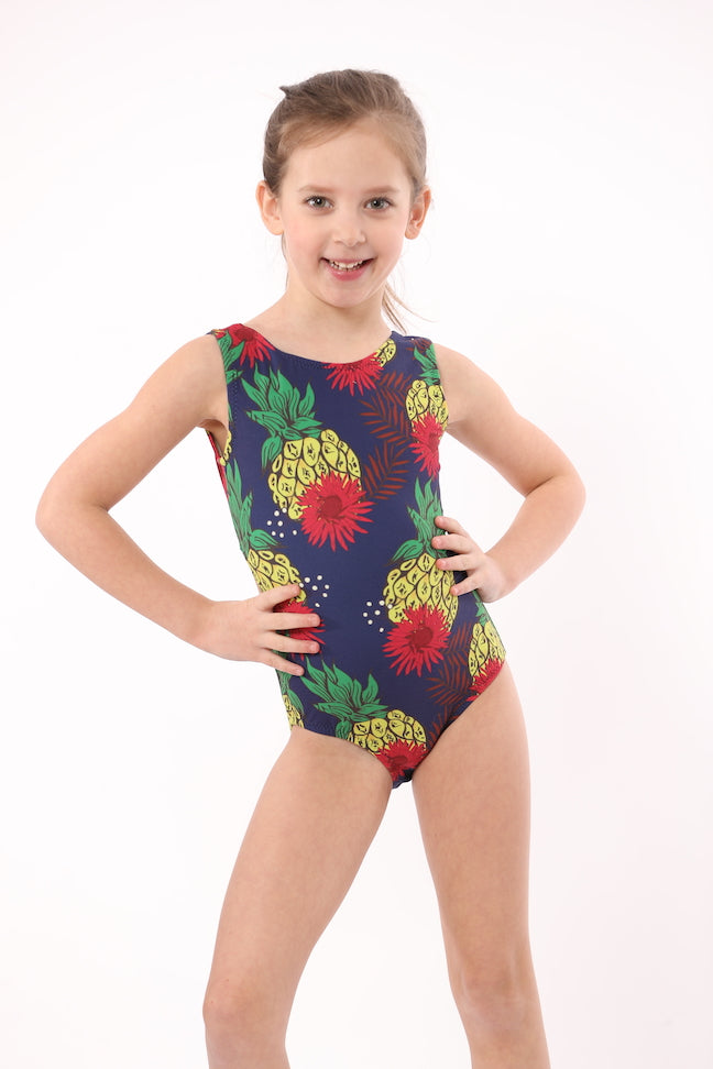 ultra soft leotard with big hawaiian flowers