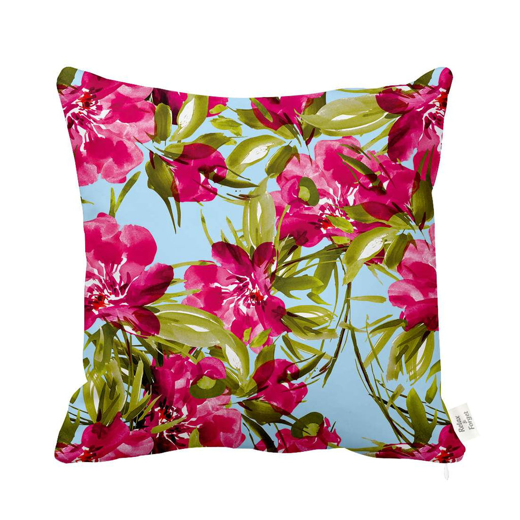 Pink Flowers Cushion Relax Forget