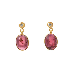 pink tourmaline + diamond earrings