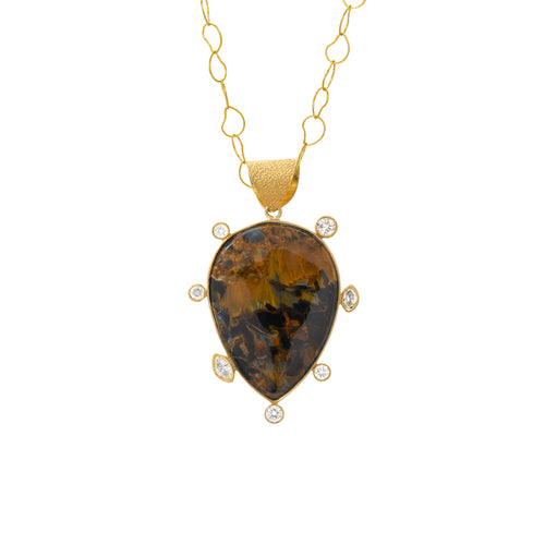 pietersite + diamond pendant