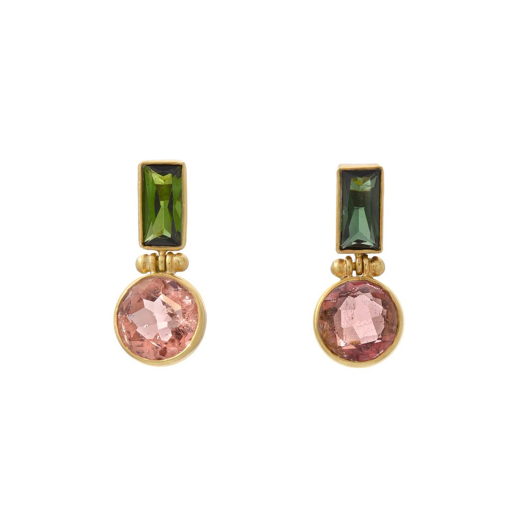 pink + green tourmaline earrings