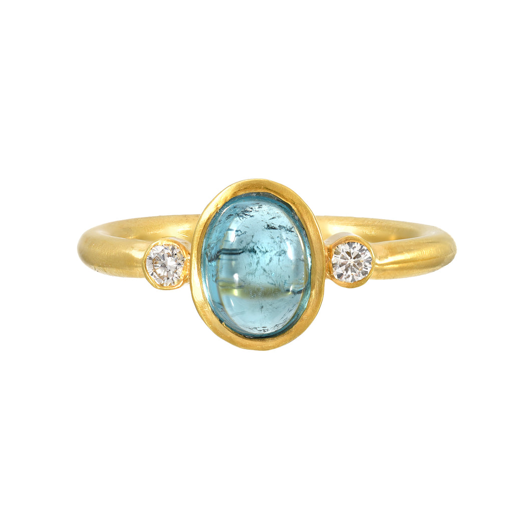 blue tourmaline + diamond ring