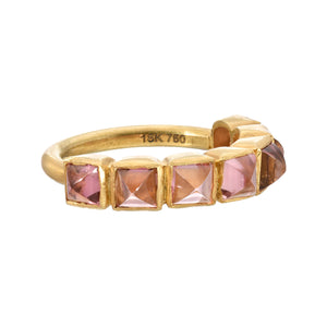 pink tourmaline row ring