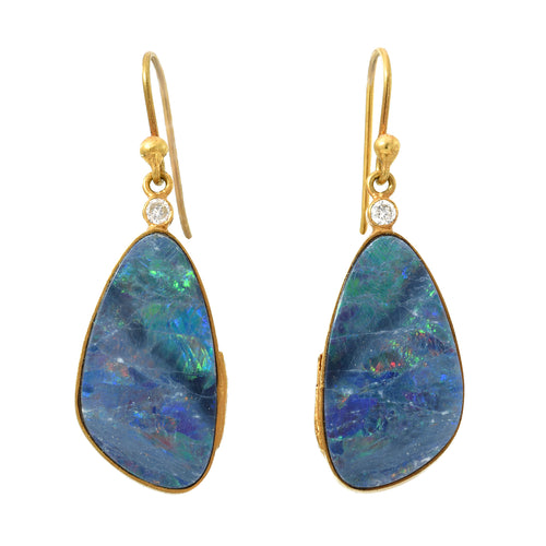 Australian opal & diamond earrings