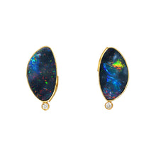 Australian opal & diamond stud earrings