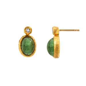 emerald + diamond stud earrings